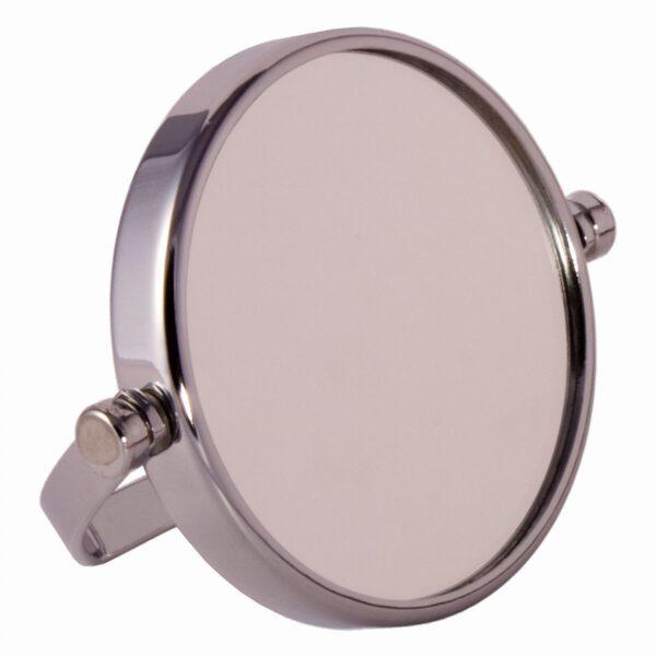 FMG Small Round Chrome Free Standing 7X Magnifying Travel Mirror 10cm Diameter-0