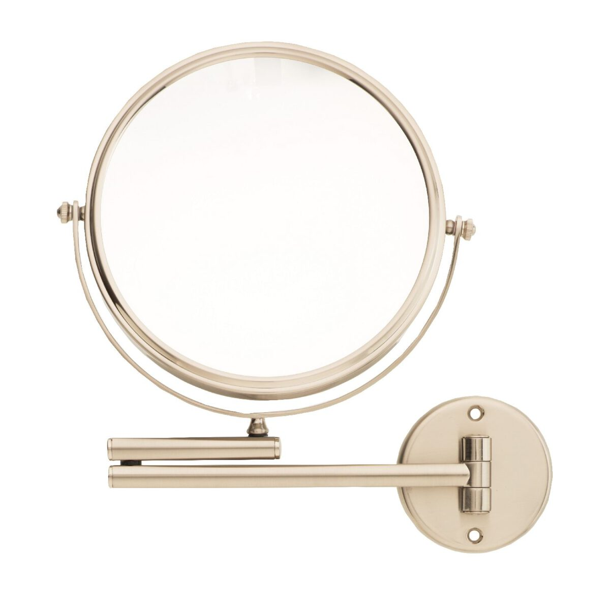 Danielle 20cm Dia Wall Mounted Satin Nickel Mirror 8x Magnifying-0