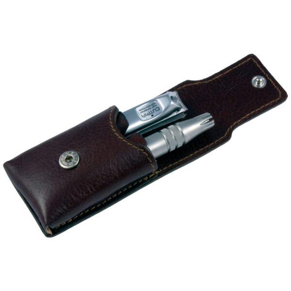Dovo Klipette Nose Trimmer & Nail Clipper Set Brown Leather Case-0