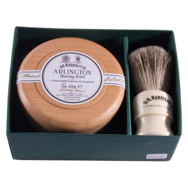D R Harris brsuh anbd shaving soap set