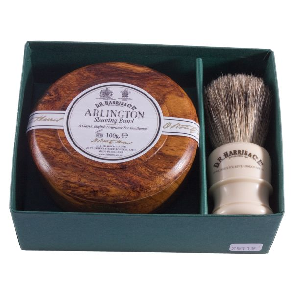 D R Harris shaving brush and soap set