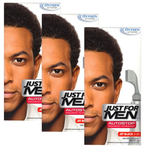 3 x Just For Men Autostop Hair Colour Auto Stop - Jet Black A60-0