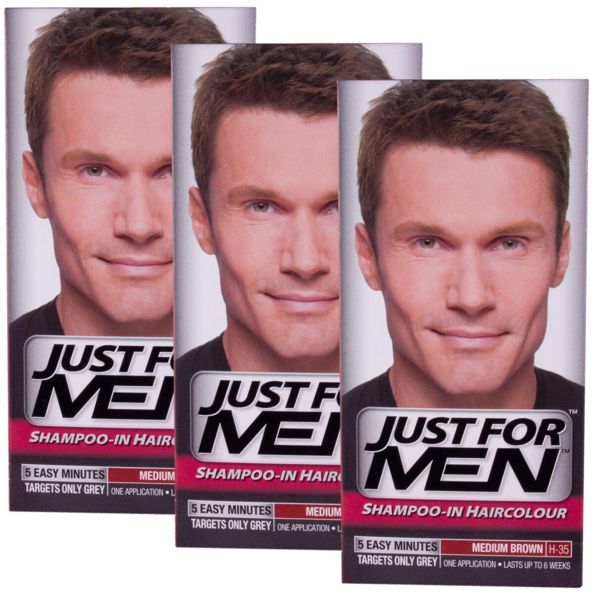 3 x Just For Men Shampoo In Hair Colour - Medium Brown H35-0