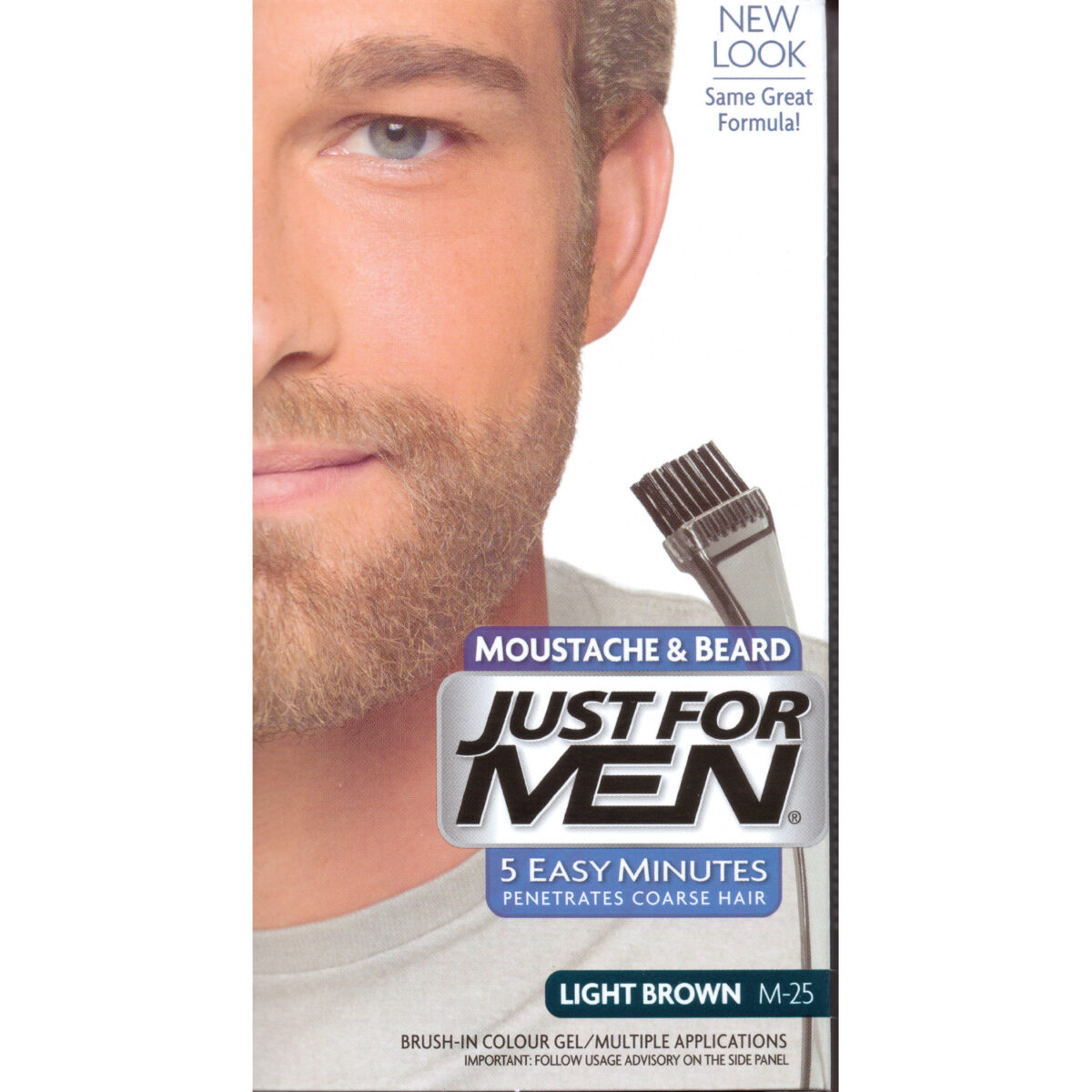 Just For Men Moustache & Beard Brush-In Colour Gel - Choose your colour-Light Brown M25-0