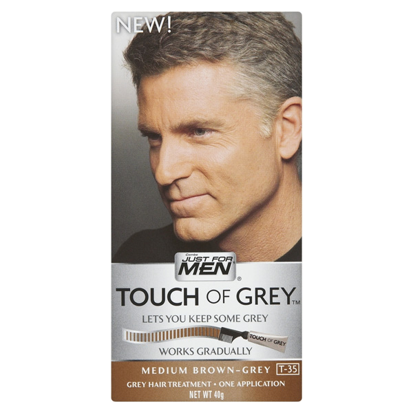 3 x Touch Of Grey Mens Hair Treatment Colour - Choose your shade-Brown Grey T35-0