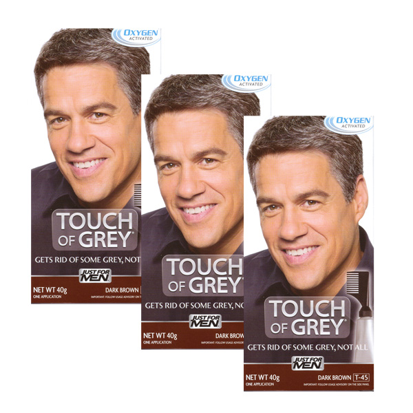 3 x Touch Of Grey Mens Hair Treatment Colour - Choose your shade-Dark Brown Grey T45-0