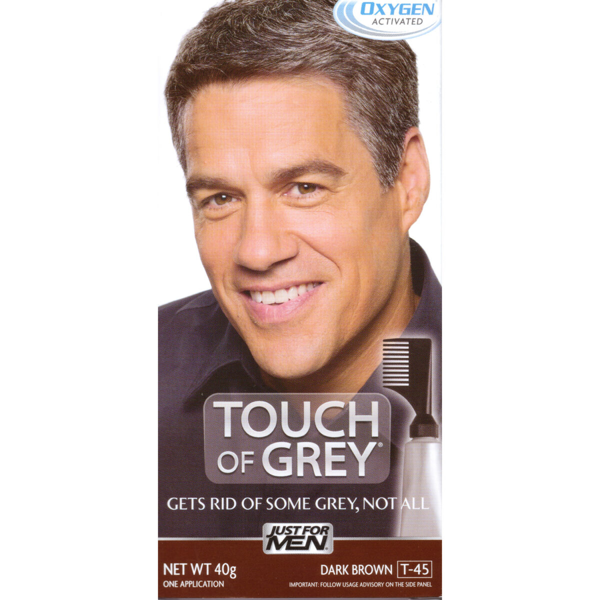 Touch Of Grey Mens Hair Treatment - Dark Brown Grey T45-0
