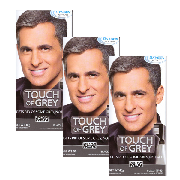 3 x Touch Of Grey Mens Hair Treatment Colour - Choose your shade-Black Grey T55-0