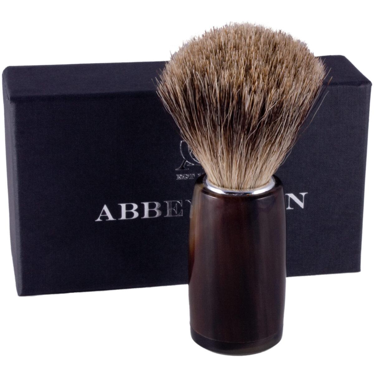 AbbeyHorn Handmade Natural Horn Badger Hair Shaving Brush