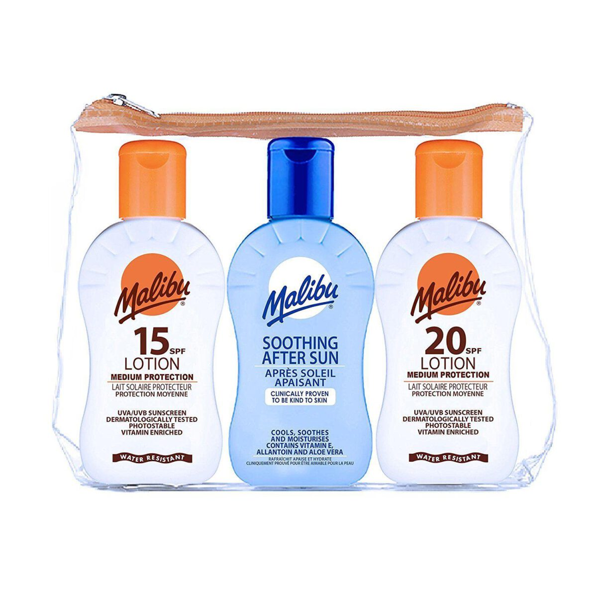 Malibu Travel Set Sun Lotion SPF 20, SPF 15, and After Sun-8659