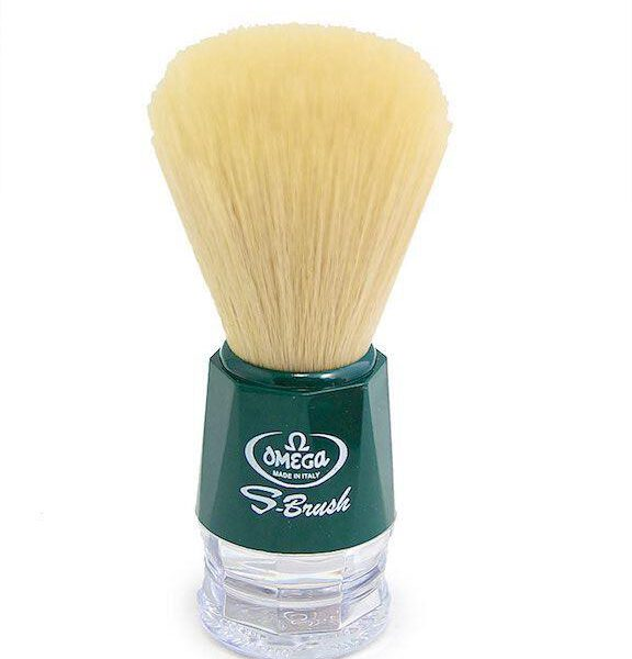 Omega S-Brush Synthetic Shaving Brush Green 10018-0