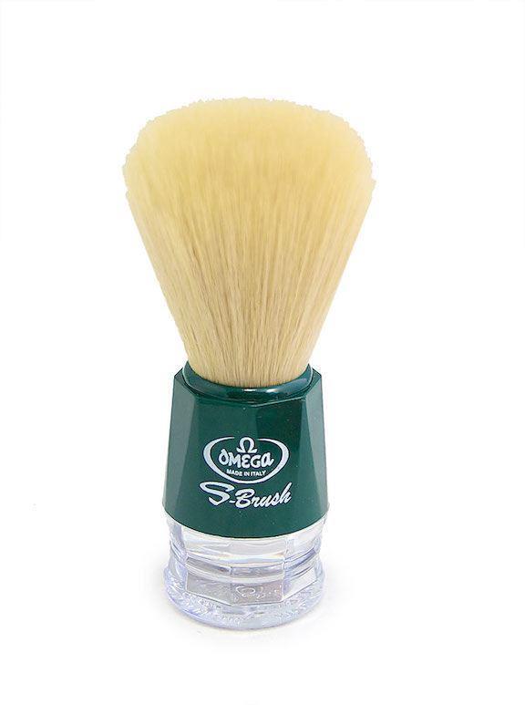 Omega S-Brush Synthetic Shaving Brush Green 10018-0
