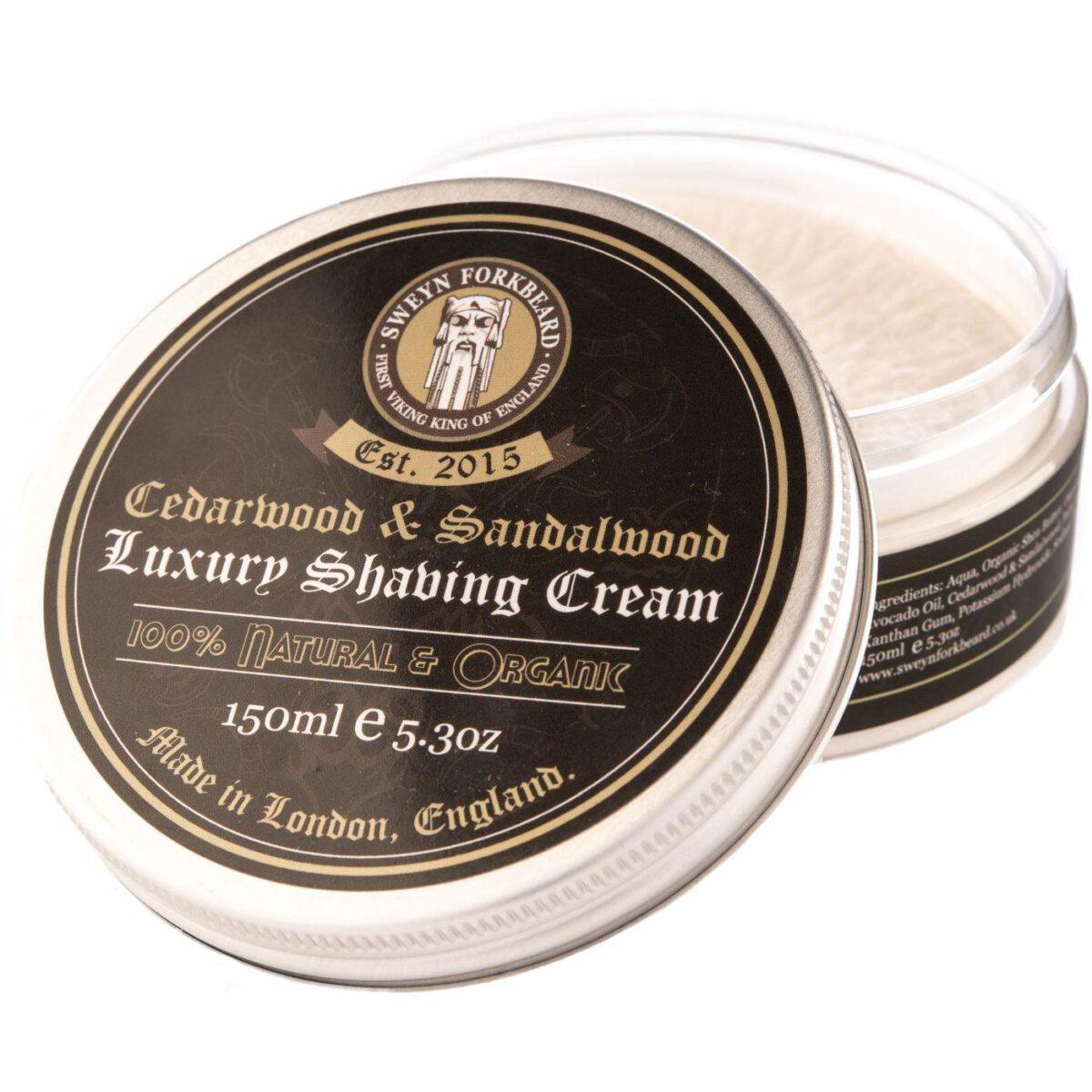 Sweyn Forkbeard Luxury Shaving Cream - 150ml Cedarwood & Sandalwood-0