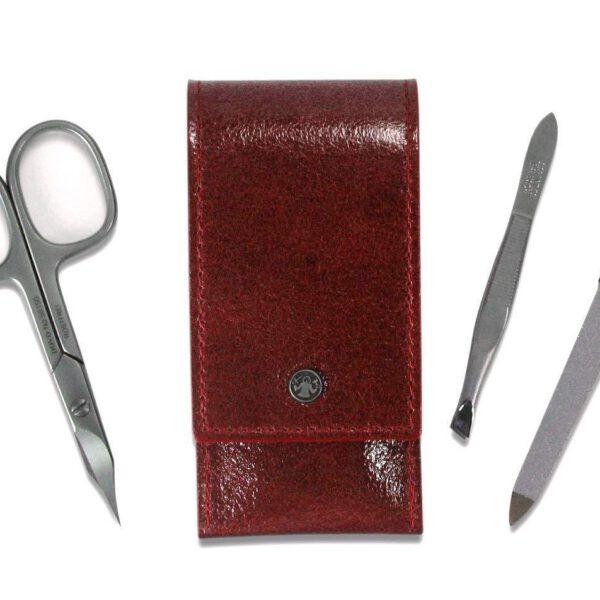 Dovo 3 Piece Pocket Manicure Set Red Leather Case-0